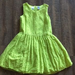 Girls Guess Hot Green/yellow lace dress size 12